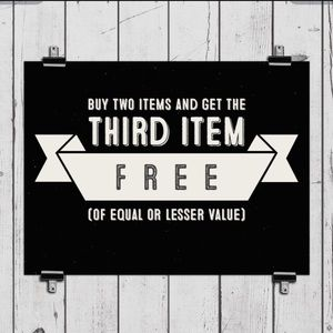Buy 2 Items & get 3rd item free! (Equal or Less)